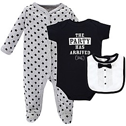 Little Treasure 3-Piece Tux Layette Set in Grey