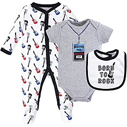 Little Treasure 3-Piece Born to Rock Layette Set in Grey