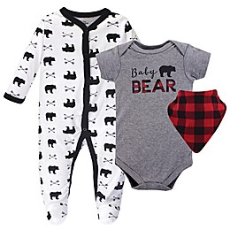 Little Treasure 3-Piece Baby Bear Footie, Bodysuit, and Bib Set in Grey