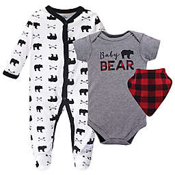 Little Treasure 3-Piece Baby Bear Footie, Bodysuit, and Bib Set in Grey