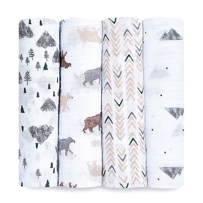 Alternate image 1 for aden + anais™ essentials 4-Pack Bear Cotton Muslin Swaddles in Grey