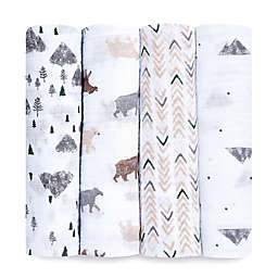 aden + anais™ essentials 4-Pack Bear Cotton Muslin Swaddles in Grey
