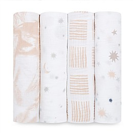 aden + anais™ essentials 4-Pack Moon Cotton Muslin Swaddles in Pink