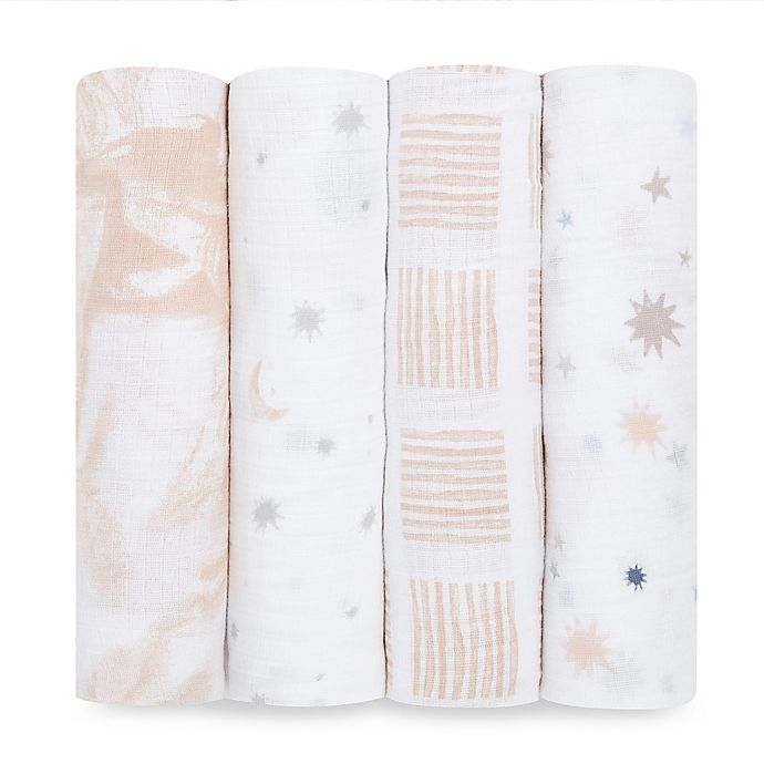 Alternate image 1 for aden + anais™ essentials 4-Pack Moon Cotton Muslin Swaddles in Pink