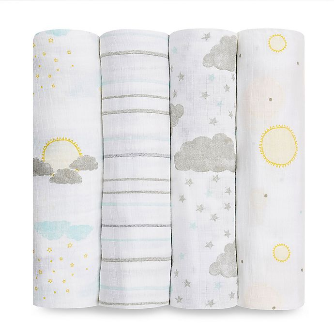 Alternate image 1 for aden+anais essentials® 4-Pack Cotton Muslin Swaddles