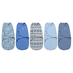 SwaddleMe® Small 5-Pack Denim Woodland Cotton Swaddles in Blue