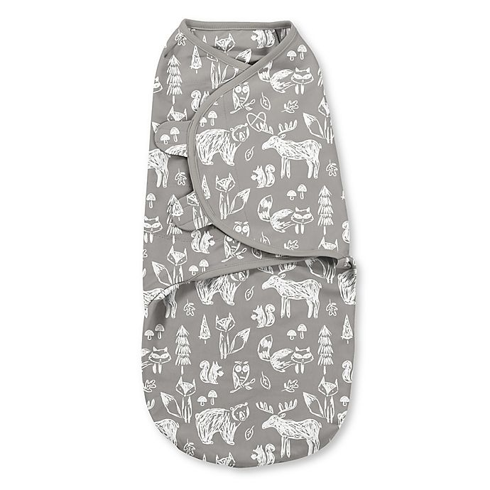 Alternate image 1 for SwaddleMe® Small Chalkboard Woodland Cotton Swaddle in White