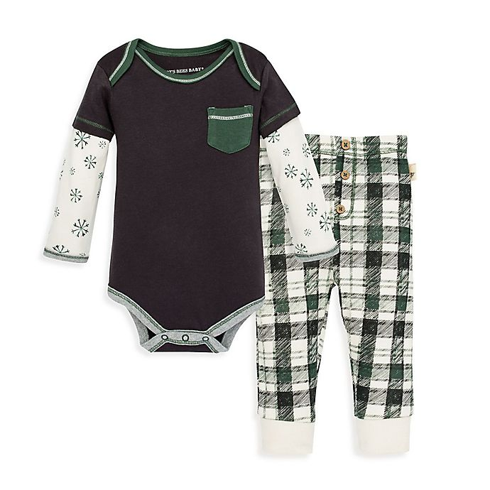 Alternate image 1 for Burt's Bees Baby® 2-Piece Frosted Snowflakes Organic Cotton Bodysuit and Pant Set