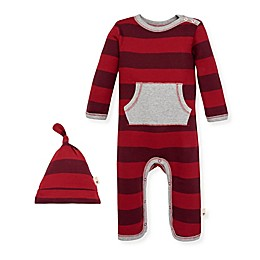 Burt's Bees Baby® 2-Piece Rugby Stripe Organic Cotton Coverall and Hat Set