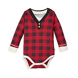 Burt's Bees Baby® Drawn Buffalo Check Henley Bodysuit