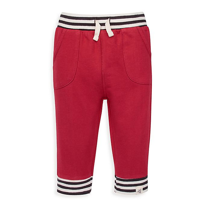 Alternate image 1 for Burt's Bees Baby® French Terry Striped Cuff Jogger Pant in Cranberry