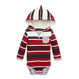 Burt's Bees Baby® Multi-Stripe Hooded Bodysuit in Cranberry