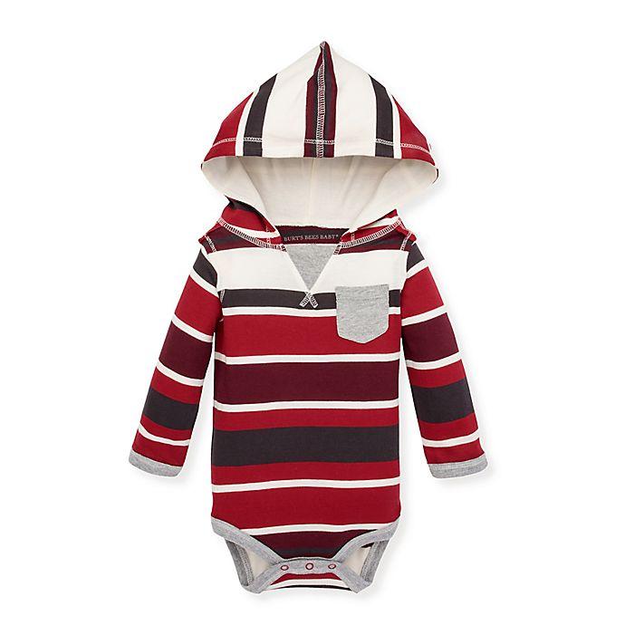 Alternate image 1 for Burt's Bees Baby® Multi-Stripe Hooded Bodysuit in Cranberry