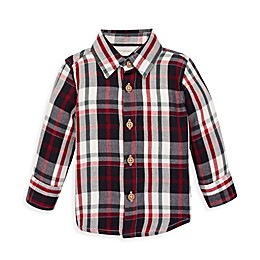 Burt's Bees Baby® Twill Multi-Plaid Button Front Collared Shirt in Zinc