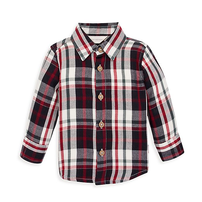 Alternate image 1 for Burt's Bees Baby® Twill Multi-Plaid Button Front Collared Shirt in Zinc