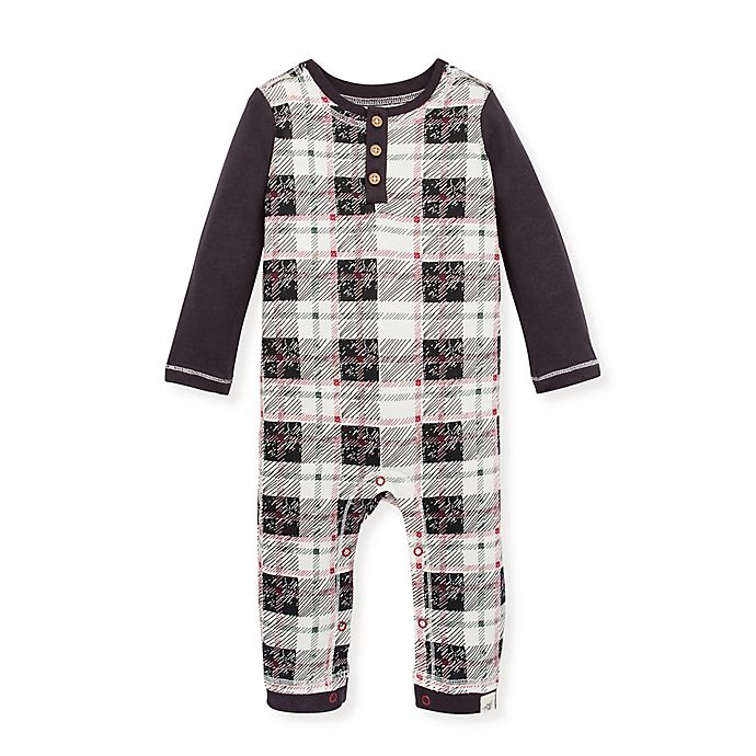 Alternate image 1 for Burt's Bees Baby® Drawn Plaid Henley Coverall
