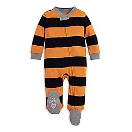 Burt's Bees Baby® Halloween Rugby Stripe Organic Cotton Footie in Orange/Black