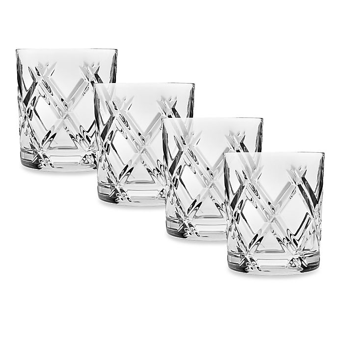Alternate image 1 for Top Shelf Hand Cut Crystal Bevel Double-Old Fashioned (Set of 4)