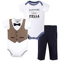 Little Treasure 3-Piece Handsome Little Fella Bodysuits and Pant Set in Blue
