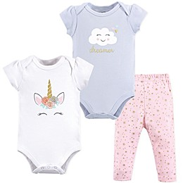 Little Treasure 3-Piece Unicorn Bodysuit and Pant Set in Grey