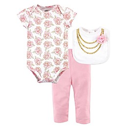 Little Treasure 3-Piece Gold Roses Bodysuit, Pant, and Bib Set in Pink