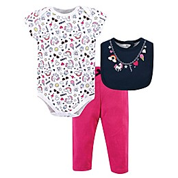 Little Treasure 3-Piece Happy Rainbow Bodysuit, Pant, and Bib Set in Pink