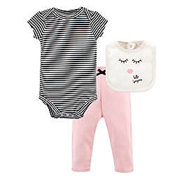 Little Treasure 3-Piece Hello Gorgeous Bodysuit, Pant, and Bib Set in Black