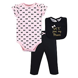 Little Treasure 3-Piece Mama Bodysuit, Pant, and Bib Set in Pink