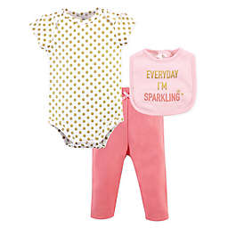 Little Treasure 3-Piece Sparkling Bodysuit, Pant, and Bib Set in Pink
