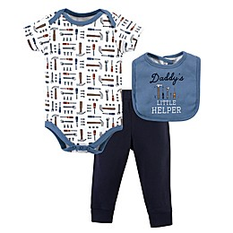 Little Treasure Size 3-Piece Daddy's Helper Bodysuit, Pant, and Bib Set in Blue