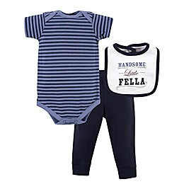 Little Treasure Striped Bodysuit, Pant, and Handsome Fella Bib Set in Blue
