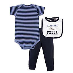 Little Treasure Striped Bodysuit, Pant, and Handsome Fella Bib Set in Blue