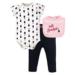 "Little Treasure 3-Piece Lipstick Bodysuit, Pant, and ""Hello Beautiful"" Bib Set"