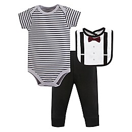 Little Treasure 3-Piece Man of Your Dreams Bodysuit, Pant, and Bib Set in Grey
