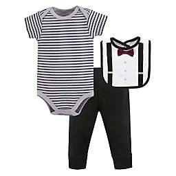 Little Treasure Size 6-9M 3-Piece Man of Your Dreams Bodysuit, Pant, and Bib Set in Grey