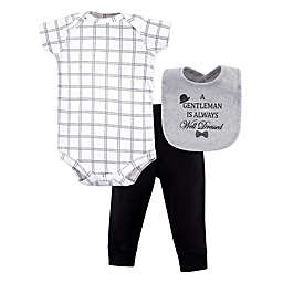 Little Treasure 3-Piece Well Dressed Bodysuit, Pant, and Bib Set in White