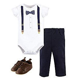 Little Treasure 3-Piece Gingham Bow Suspenders Bodysuit, Pant, and Shoe Set in Blue