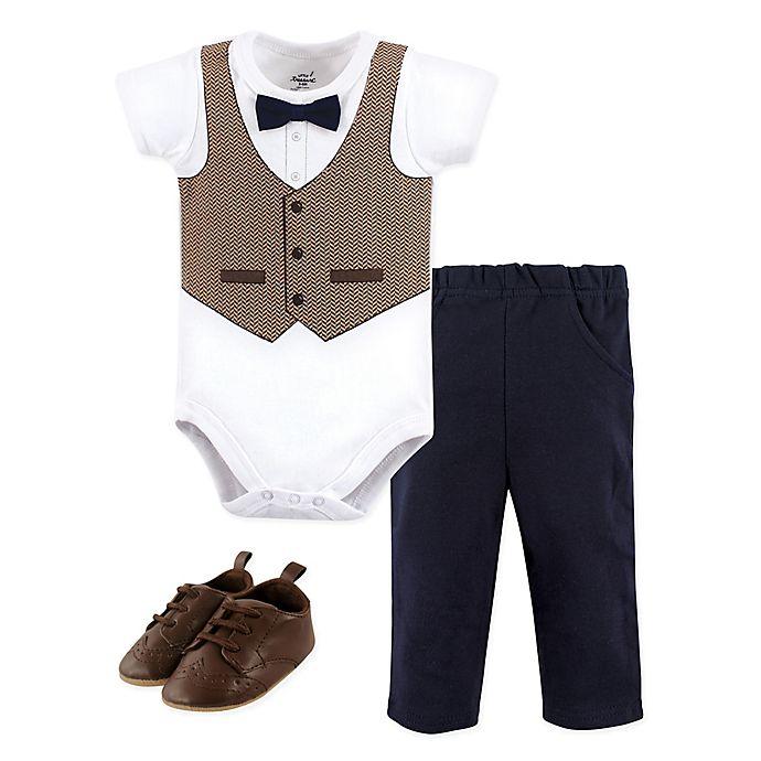 Alternate image 1 for Little Treasure 3-Piece Herringbone Vest Bodysuit, Pant, and Shoe Set