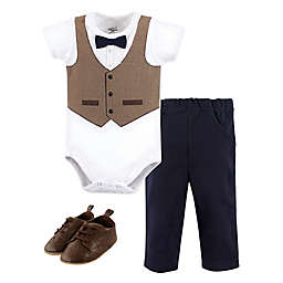 Little Treasure Size 0-3M 3-Piece Herringbone Vest Bodysuit, Pant, and Shoe Set