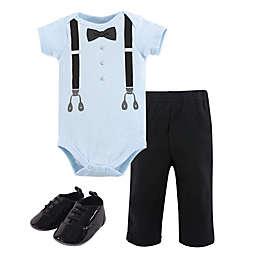 Little Treasure 3-Piece Ladies Man Bodysuit, Pant, and Shoe Set in Blue