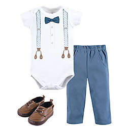Little Treasure Size 12-18M 3-Piece Blue Suspender Bodysuit, Pant, and Shoe Set