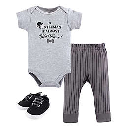 Little Treasure 3-Piece Well Dressed Bodysuit, Pant and Shoe Set in Grey