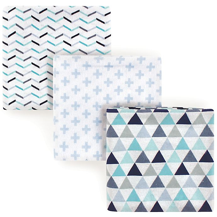 Alternate image 1 for Luvable Friends® Geometric 3-Pack Flannel Swaddle Blankets