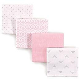 Luvable Friends® 4-Pack Flannel Princess Receiving Blankets in Pink