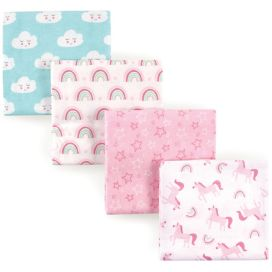 Luvable Friends Baby Girls Pink Princess Tiara 4 Pack Flannel Receiving Blanket
