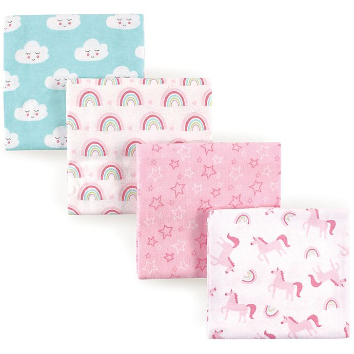 Alternate image 1 for Luvable Friends® 4-Pack Flannel Unicorn Receiving Blankets in Pink