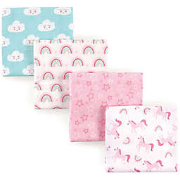 Luvable Friends® 4-Pack Flannel Unicorn Receiving Blankets in Pink