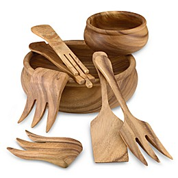 Ironwood Gourmet® Wood Rim Serving Salad Bowl and Accessories