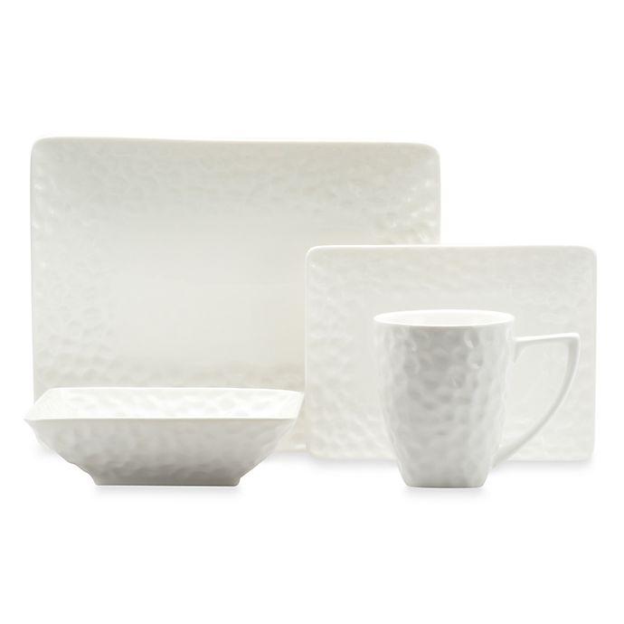 Alternate image 1 for Red Vanilla Marble Rectangular 18-Piece Dinnerware Set