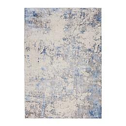 Nourison Sleek Textures Distressed Area Rug in Blue/Multicolor